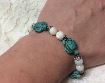 Turquoise sea turtle bracelet, Sea turtle bracelet, Sea turtle jewelry, Silver turtle bracelet