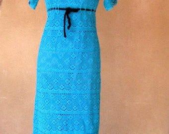 Vintage 70's – Crochet lace knit high waist maxi dress