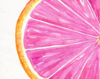Grapefruit Watercolor Painting Original, Ruby Red Citrus ART 8 x 10 kitchen decor. original watercolor painting of grapefruit, illustration