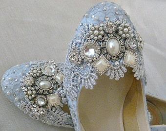 Low Heel Wedding Shoes .. Something Blue Wedding Shoes . Bridal Shoes . Sparkly Bridal Shoes . Lace Shoes . Extra Comfort  ..