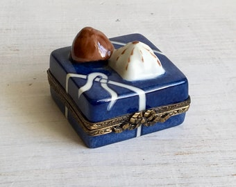 Limoges vintage porcelain trinket box in a shape of chocolate cake, hand painted French pill box