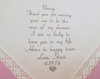 Hankerchief Future Mother in Law Wedding gift personalized embroidered handkerchief Hankerchief for Mother of the groom Napa Embroidery