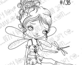 Digi Stamp Digital Instant Download Big Eye Dragonfly Fairy Girl ~ Tasha Image No. 73 & 73B by Lizzy Love