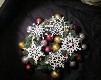 Crochet Snowflake Ornaments - Box of 5 White Snowflakes