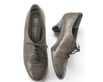 Spanish oxford wingtip brogue heels in taupe SIZE 38