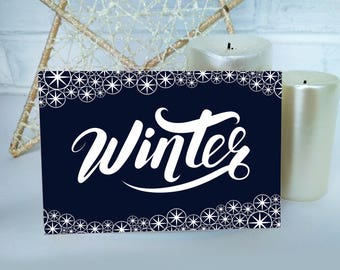 Digital card with white lettering winter and snowflakes. Instant Download. Gift for a christmas.