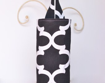 Plastic Bag Holder Dispenser Flynn Black and White