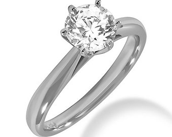 6-Prong Domed Solitaire Engagement Ring Setting 0.5ct - 5ct 18k White, Yellow, Rose Gold (SR101)