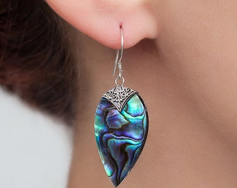 Abalone earrings. Beautiful color changing, blue -Abalone shell earrings with Sterling silver.