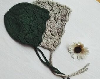 lace knit baby bonnet - cotton merino baby bonnet - handmade baby bonnet - knitted baby bonnet