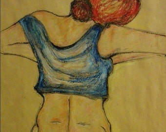 """Drawing with oil pastels and charcoal, title of the opera: """"The heat of that evening"""""""