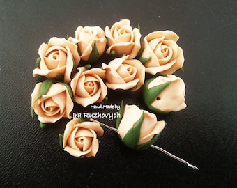 10 pcs. beige roses, polymer clay flower bead