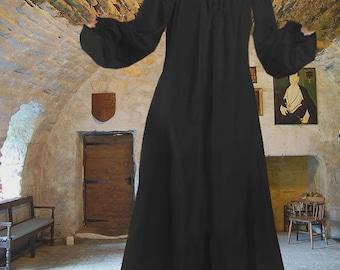 Renaissance Dress Medieval Costume Chemise Undergown Petticoat Full Length Black Cotton lxl FREE SHIP