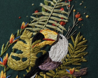 Tropical toucan patch, monstera leaves, fern rectangle patch, hand embroidered patch