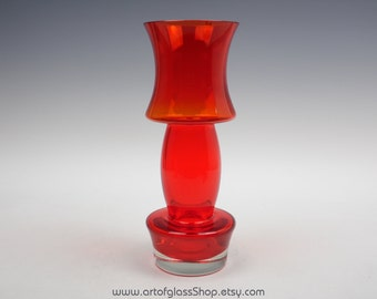 "11"" tall Riihimaki red glass vase"