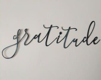 FREE SHIPPING!!!  Gratitude, Metal Sign, Metal wall art, Custom Metal Work, Cursive Writing