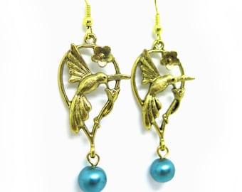 Humming Bird Pearl Beaded Dangle Earrings