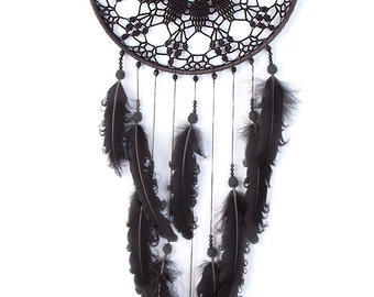 Large Black Dream Catcher, Crochet Doily Dreamcatcher, large dreamcatcher, feathers, boho dreamcatchers, wall hanging, wall decor, handmade