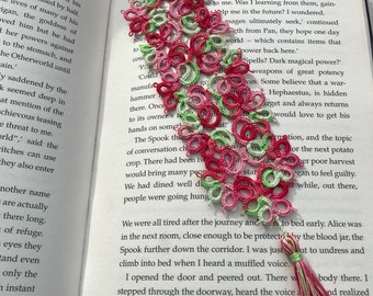 Tatted bookmark. Bookmark tatted lace, pink and green colour lace bookmark, tatting
