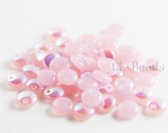 50pcs Czech Glass Beads - Lentils with One Hole - Milky Pink AB 6mm (X71010) (L-138)