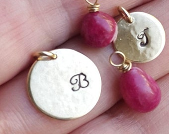 Personalized Gold Filled Necklace, Stamped Initial Disc, Smooth Ruby Charm, Handmade, Birthday Gift, Mother Day Gift, Best Friend