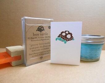 Groovy Box Turtle hand-silkscreened mini notecards, Boxed Set of 6