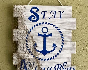 "16""x 20"" Whitewashed ""Stay Anchored"" Wood Sign"