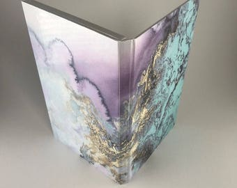 Purple and Gold Marble Effect Magnetic Makeup Palette - Double Sided Print with Large Mirror Z - Gift or Birthday Present