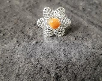 Adjustable ring filigree flower, natural and unique gemstone