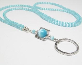 Aqua Blue Beaded Lanyard; ID Badge Holder; ID Badge Lanyard; Blue Lanyard; Eyeglasses Holder; Neck Strap for ID Badge Holder Necklace