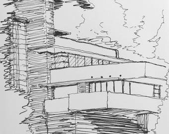 Black and White Drawing of Fallingwater in Pennsylvania by Frank Lloyd Wright