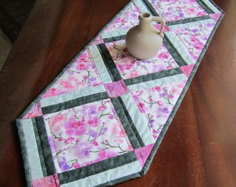 """Quilted Table Runner """"Pink Orchid Blossoms"""" Quilted Table Topper, Handmade Table Decor, Quiltsy Handmade, Patchwork Tablerunner"""