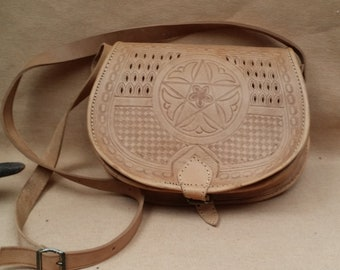 Simple Geniune Leather Crossbody bag, Natural Leather Bag, Purse, Tote, Moroccan bag