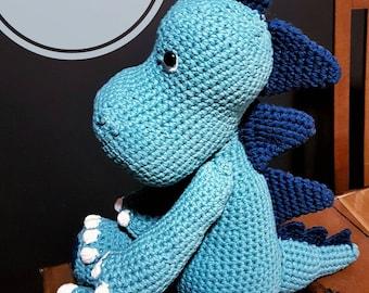 Danny the Dino crochet pattern! Amigurumi dino design. PDF pattern tutorial. Crochet dinosaur pattern