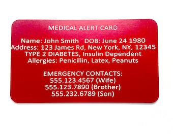 Medical Alert Card - Emergency Wallet Card - Custom Engraved Medic ID