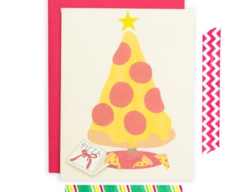 Funny Christmas Card, Pizza Christmas Card, Pizza Holiday Card, Pizza Greeting Card, Christmas Card
