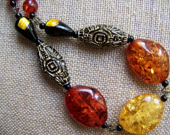 Amber Necklace,Amber jewelry,Chunky Jewelry,Beaded Necklaces,Yellow necklaces,Orange necklaces,Black and Gold Jewelry,Polish Jewelry,#53