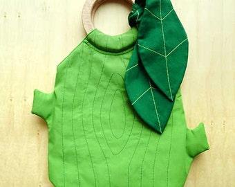 Vegan Handbags, Fabric Handbags, Wooden Handles Bag, Wood Handles Bag, Tree Design, Woodlands Purse (Apple Green with Emerald Green Leaves)