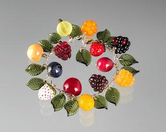 Glass Fruit Charm Bracelet  lampwork bead jewelry hand blown glass art birthday gift, Mother's Day gift for gardener, chef