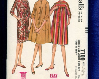1960's McCalls 7100 Flared & Slim House Dress or Smocks Pattern Size MEDIUM 12/14