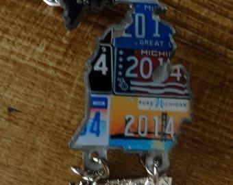 Large State Shape of Michigan Lapel Pin License Plates LOGOS 2.5 IN. Ohio Neighbor! Map Travel Souvenir