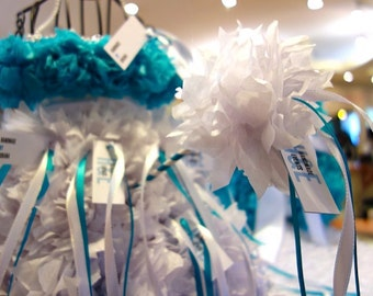 PuffScape Aqua Turquoise BLUE Wedding Place Card Table DRESS Centerpiece Tissue Paper Flower Pom Puff Fairy Princess Quinceanera Sweet 16