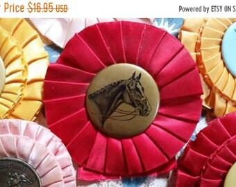 ON SALE Vintage Red Horse Show Rosette Ribbon Award Trophy Bow N0.4