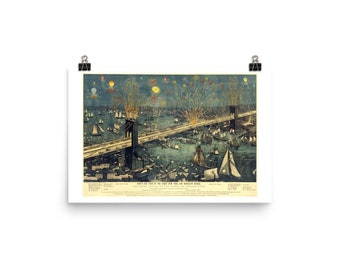 Brooklyn Bridge Opening Night Fireworks 1883, Premium Luster Photo Paper Poster