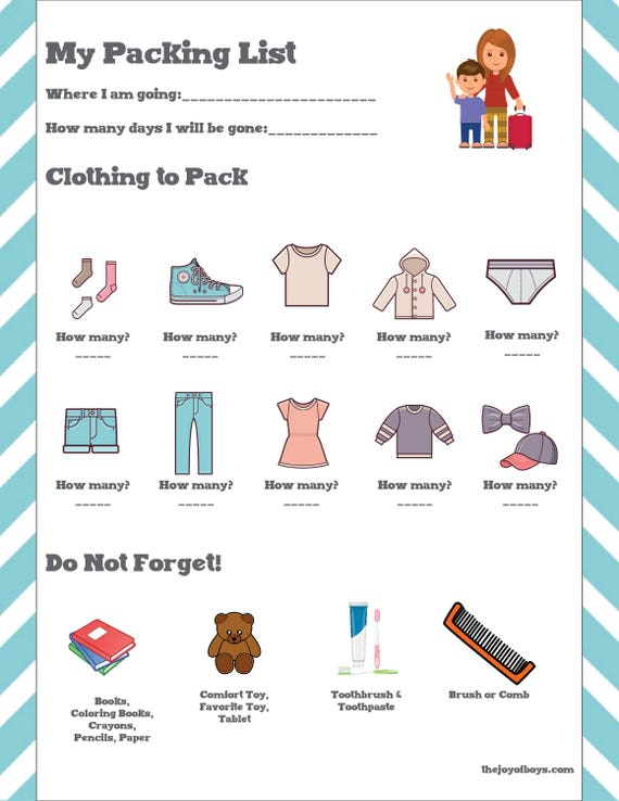 Kids Packing List Vacation Travel