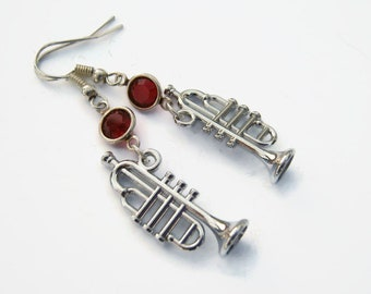 Trumpet Birthstone Earrings, Jazz Charm Earrings, Personalized Swarovski Crystal, Horn Band Earrings, Music Gift, Antiqued Silver Tone