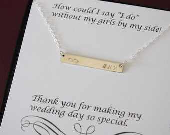9 Bridesmaid Initial Bar Necklaces, Thin Bar, Rectangle Necklace Silver, Personalized, Bridesmaid Gift, Thin Rectangle, Best Friend