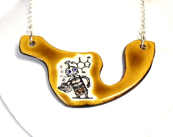 Coffee Bot Sparkle Surly Ceramic Necklace with Rhinestone Chain