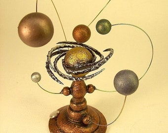 Spiral Ring Orrery Copper Solar System Model Space Science Miniature Nebula Alien Sun Planet System Wood Steampunk Sculpture Orreries