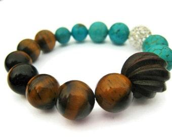 tigers eye stackable bracelet tiger eye bracelet turquoise layering stack bracelet boho stretch bracelet gypsy gumball bracelet gift idea